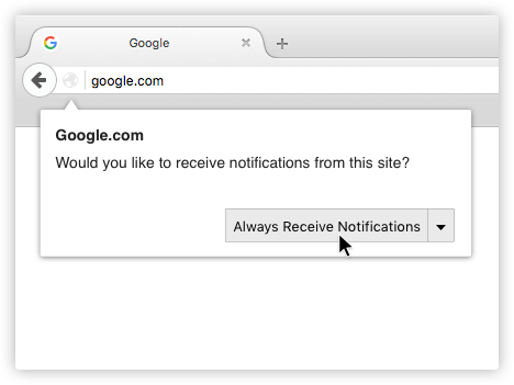 firefox how to stop website sending notifixations